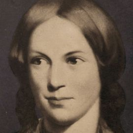 A portrait of Charlotte Brontë is shown.