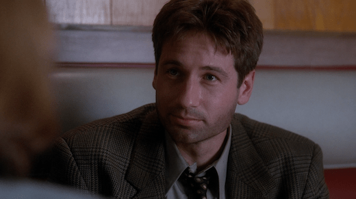 Mulder is unshaven after his adventures chasing the Jersey Devil.