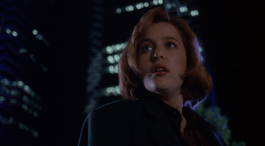 Scully with the Eurisko building looking ominous in the background.
