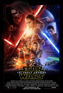 The theatrical poster from Star Wars: The Force Awakens is shown.