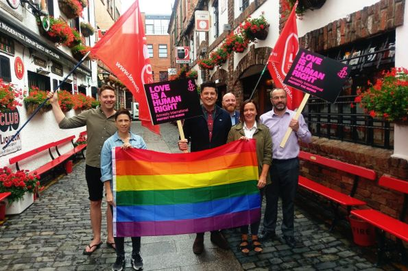 Ged Killen and others at Belfast Pride 2018