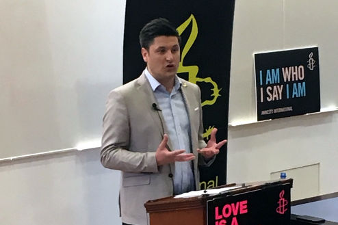 Ged Killen delivering key note address at Amnesty NI Pride