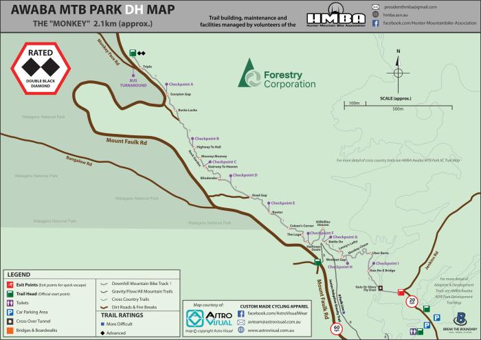 HMBA Awaba MTB Park DH Map-2020