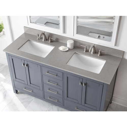 73 in w x 22 in d engineered quartz vanity top with white double trough basin