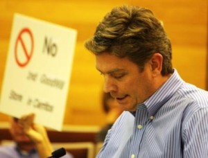 Property manager Jonathon Doty appears before Cerritos City Council during Goodwill debate.