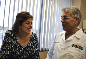 Patricia Fisher with Dr. Shyam Dahiya. She was the first patient to undergo robotic surgery at Tri City Medical Center..
