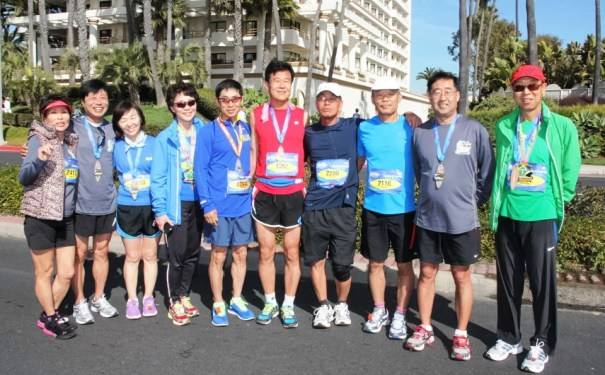 Members of the Cerritos Easy Runners Club at the Boston Marathon prior to the race.  Photo Special to Los Cerritos Community Newspaper from Club member James Kang.