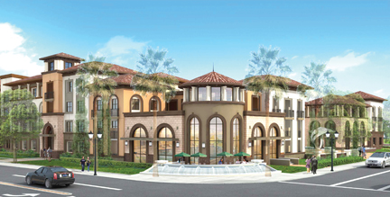 Rendering of new proposed project in Cerritos at the corner of Artesia Boulevard and Bloomfield Avenue.