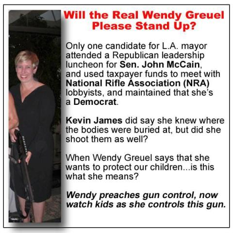 Copy of flyer sent to news agencies on Friday showing LA Mayor candidate Wendy Greuel holding what appears to be a semi-automatic weapon.