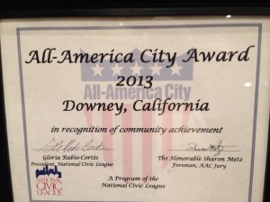 All-America City Award for 2013 is presented to Downey, California!  City officials are working on a new plan to market the community more aggressively.