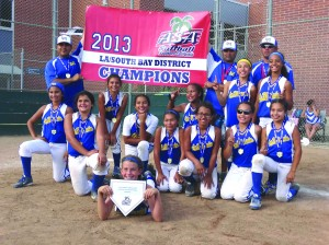 Members of the La Mirada 10u Gold Team include top row:  Manager Jason Pantages, Head Coach VinnieDiPillo, Coach David Rosales; Back Row: Emma Viayra, Savannah Adams, Kayla Carrillo, Kennedi Houshmandzadeh;  Middle Row: Maylene Juarez, Josie DiPillo, Jaelyn Pantages, Alexia Rosales, Astrid Arevalo, Sarah Veloz, Lilly Orozco; Front: Emma Frazier