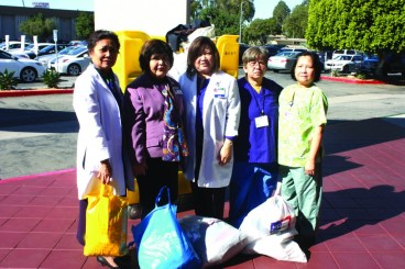 Nurses from Tri-City Medical in Hawaiian Gardens gathered box loads of clothes, shoes, cash and supplies that are all being sent to help victims of the Typhoon in the Philippines.  Seen in the photo are Helen Duca, Lita Caguin, Juliet Miranda, JD Windsor and Lila Mappo.  Randy Economy Photo