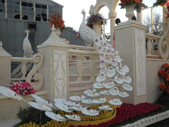 Downey Rose Parade Float features intricate details including a flowered white peacock.