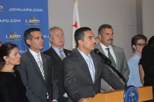 Assemblyman Mike Gatto is joined by Los Angeles Mayor Eric Garcetti, Councilman Tom Labonge and Police Chief Charlie Beck at a press conference announcing a $50,000 Reward to find this killer of his father Joseph Gatto.  Randy Economy Photo