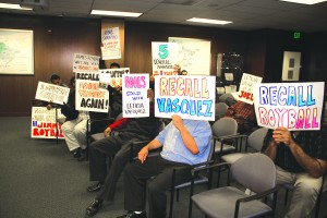 """In a contentious meeting on Thursday, Central Basin Water Directors Leticia Vasquez, James Roybal, and Bob Apodaca came up short in an effort to fire General Manager Tony Perez. Angry supporters showed up with signs denouncing the """"Roybal Three."""""""