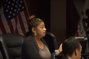 Central Basin Water Board Director Leticia Vasquez interrupts a report from Attorney Rick Olivares at Monday's meeting in Commerce.  Pete Parker Photo
