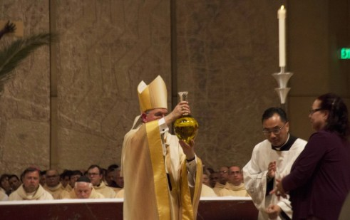 Thousands of Catholics gathered at Our Lady of the Angels Cathedral in Downtown Los Angeles on Monday to attend the annual Chrism Mass in a solemn ceremony that was officiated by Archbishop Jose Gomez. Pete Parker Photo