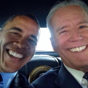 Obama and Biden mug for Presidential selfie.
