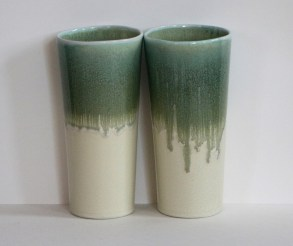Yellow and green 20 oz. porcelain tumbler