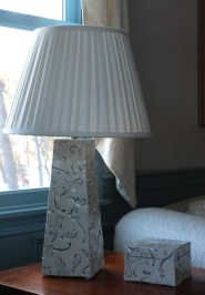 blue and white lamp
