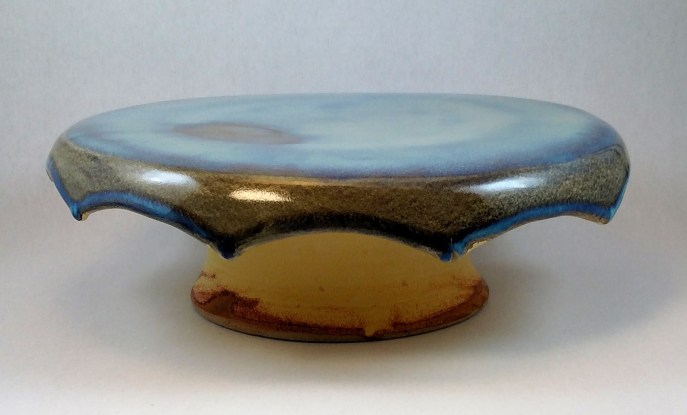 blue and yellow cake stand