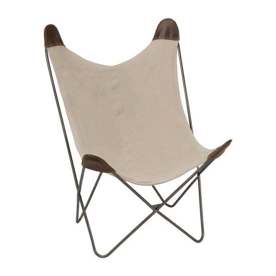 vlinderstoel, BFK chair, Mariposa chair, stalen frame, stalen onderstel, stof, katoen, beige, grijs, leer, cognac leer.