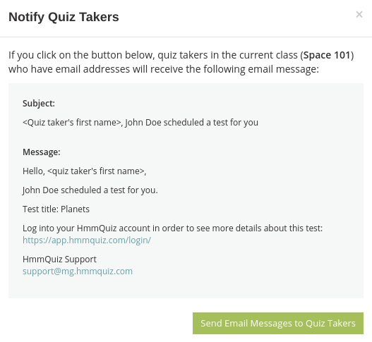 Send test takers email notifications about the scheduled exam