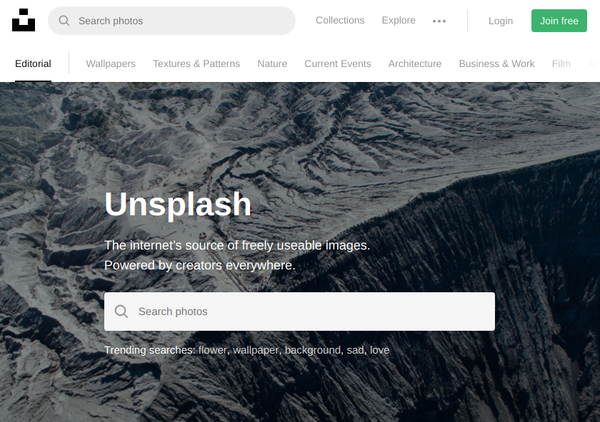 Websites with free photos: Unsplash