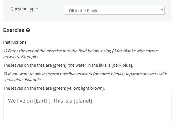How to create a fill in the blank question online