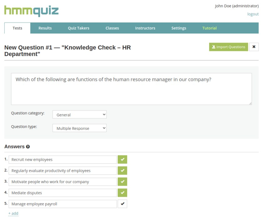 Create online tests for your employees