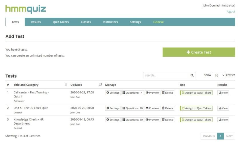 Online test maker for teachers and businesses