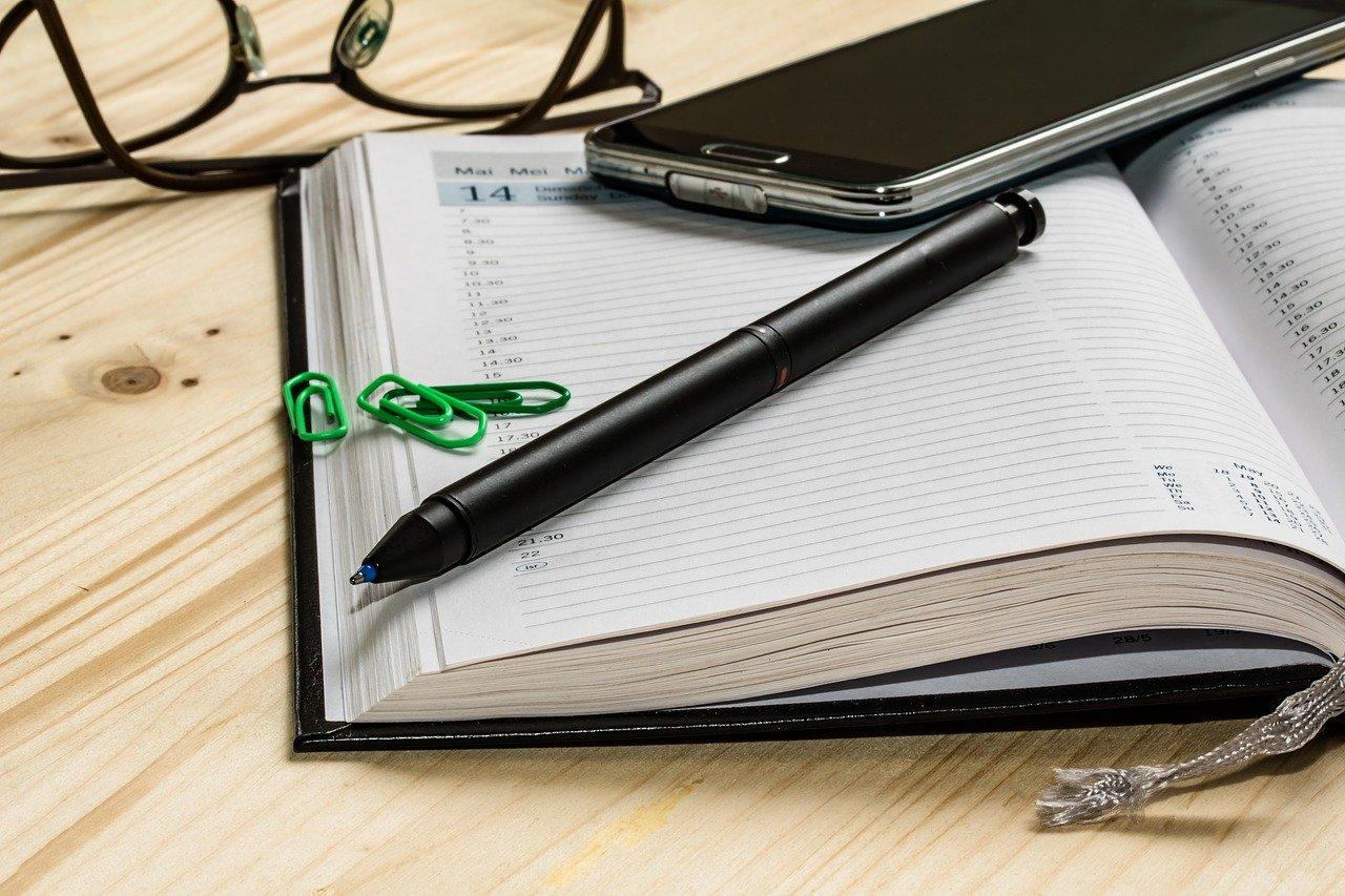 agenda, appointment calendar, pen