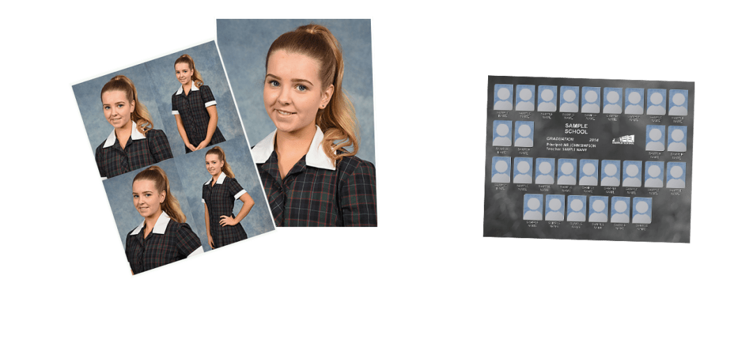 School Photos Melbourne Composite Packages including one composite class group photo, a selection of sizes for individual photos (wallet size, 5 by7 inches, 3.5 by 5 inches, and 8 by 10 inches)