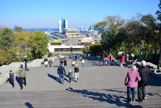 Potemkin Stairs and the view to Odessa Sea port