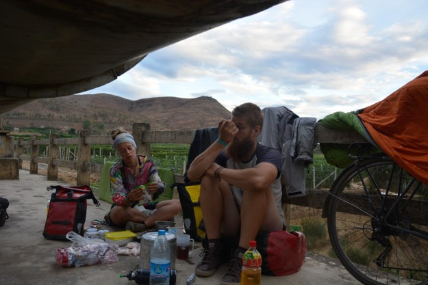 Camping on the pipeline bridge