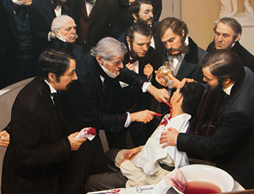 STEADY PROGRESS: Warren and Lucia Prosperi's <i>Ether Day</i> painting, which captures the first successful use of ether as an anesthetic, hangs in the domed amphitheater in which the historic event occurred more than 150 years ago.