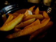 Fat chips with feta and oregano