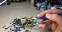 The brushes I used to drybrush dwarven stonework