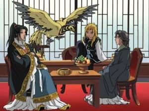 Rakushun the hanjyuu sits with King En and his kirin Enki