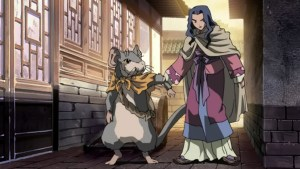 Princess Shoukei and Rakushun discuss whether to spend the night at a common inn.