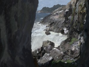 An oil painting looking out from a sea-cave
