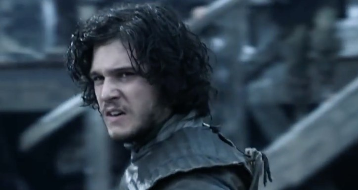 Jon Snow scowling because he's a bastard