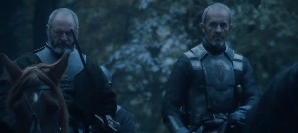 Stannis Baratheon arrives at The Wall on his horse.