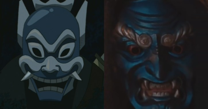 The mask of The Blue Spirit compared with its Shyamalan counterpart.