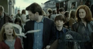 Harry Potter with his too-perfect family in the epilogue.