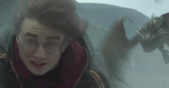 Harry Potter Competes in the first Triwizard task.