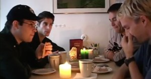 Arthur sailes and his husband Ben eat with Victor and Stan.