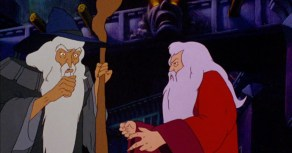 "Gandalf and ""Aruman"" in Ralph Bakshi's adaptation."