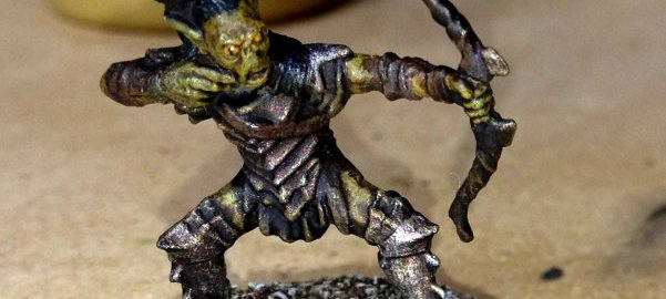A Games Workshop Moria goblin miniature.