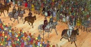 Cartoon Aragorn is crowned king of Gondor.
